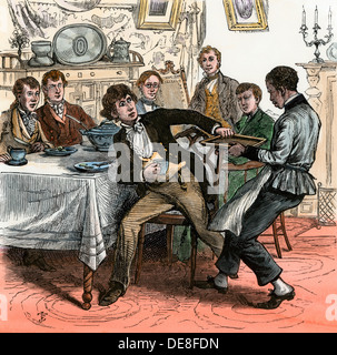 Davy Crockett at a fashionable dinner. Hand-colored woodcut - Stock Photo