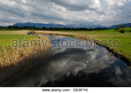 Germany, View of landscape with houses in background, near by Uffing at Staffelsee - Stock Photo