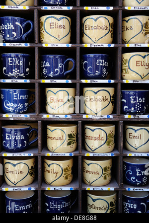 Germany, Bavaria, Munich, Names written on Cups in Auer Dult market - Stock Photo
