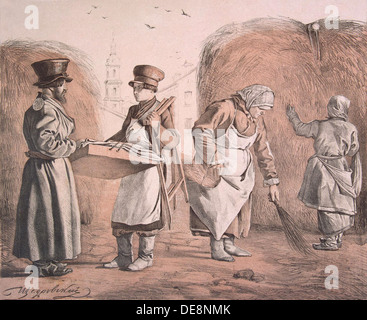 Street Pedlar of Pies and Coachman (From the Series These Are Our People), 1842. Artist: Shchedrovsky, Ignati Stepanovich - Stock Photo
