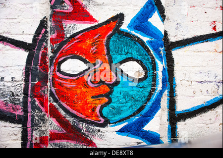 East End London Fish Island Hackney Wick graffiti graffitti grafitti grafiti street art letters colourful colorful - Stock Photo