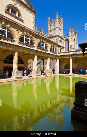 The Roman Baths, the great bath, the only hot springs in the UK, Bath city centre north east Somerset England UK - Stock Photo