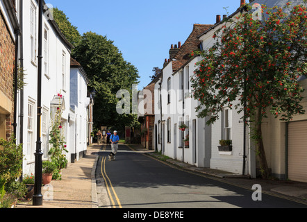Row of old terraced town houses along narrow Church Street, Sandwich, Kent, England, UK, Britain - Stock Photo