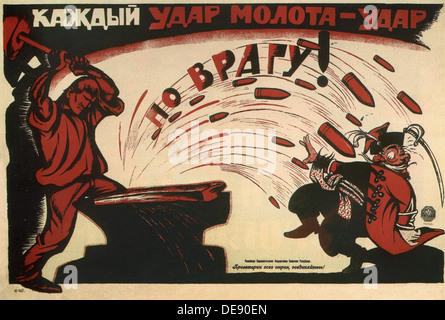 Every hammer blow is a blow to enemy! (Poster), 1920. Artist: Deni (Denisov), Viktor Nikolaevich (1893-1946) - Stock Photo