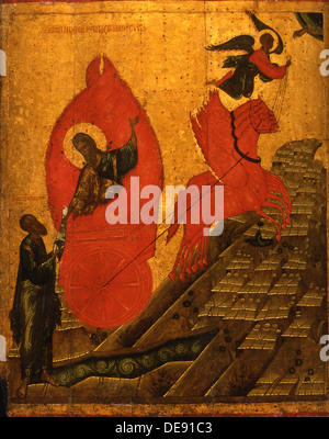 The Prophet Elijah and the Fiery Chariot, Early16th cen.. Artist: Russian icon - Stock Photo