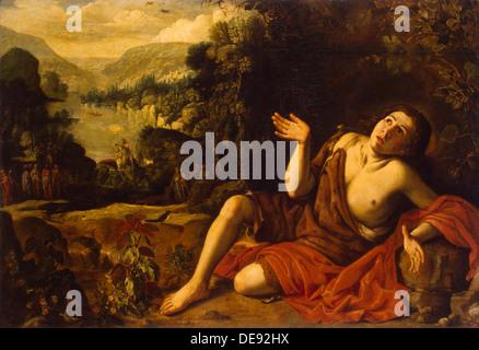 Saint John the Baptist in the Desert, 1630. Artist: Collantes, Francisco (1599-1656) - Stock Photo