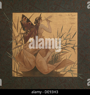 Composition with winged nymph among the reeds, 1887. Artist: Riquer Inglada, Alejandro de (1856-1920) - Stock Photo