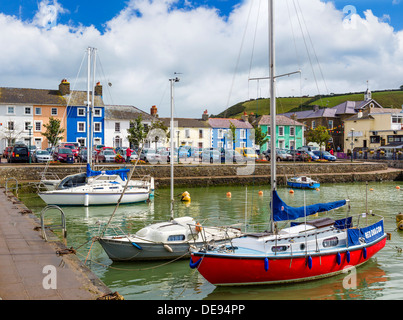 Boats in the harbour in the seaside village of Aberaeron, Ceredigion, Wales, UK - Stock Photo