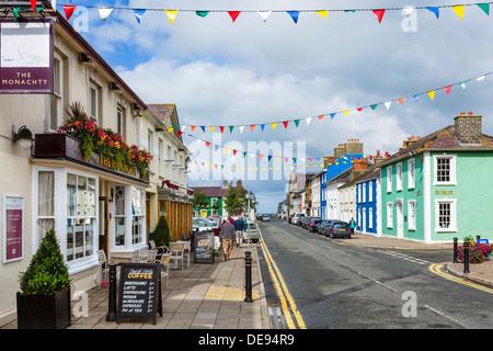 The Monachty pub and hotel on Market Street in the seaside village of Aberaeron, Ceredigion, Wales, UK - Stock Photo