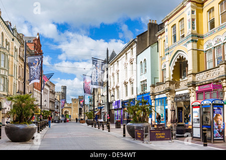 Shops on High Street looking towards Cardiff Castle, Cardiff, South Glamorgan, Wales, UK - Stock Photo