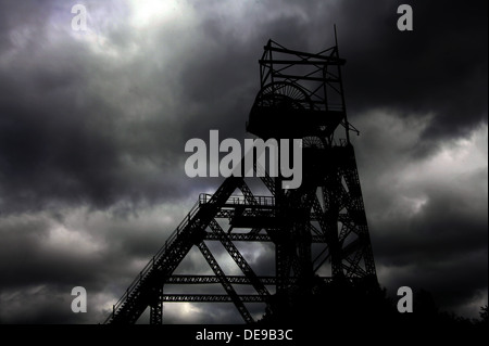 Colliery Pit Head winding Gear Lancs England UK - Stock Photo