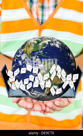 people worldmap map world tree wood forest letter board protect planet save green sunny grass ecology e-mail envelope - Stock Photo