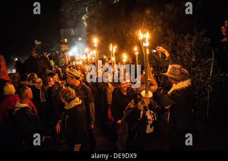 Portmeirion, North Wales, UK . 13th Sep, 2013. The torchlight procession at the end of the first day of the 2013 - Stock Photo