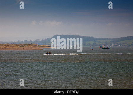 The Exmouth lifeboat crew practicing in the River Exe estuary at Exmouth, Devon, England, UK - Stock Photo