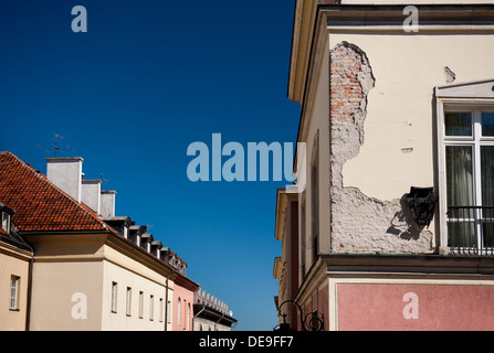 dilapidated wall of old building in Warsaw - Stock Photo