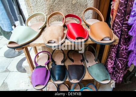Typical menorquinas sandals, Ciutadella, Minorca or Menorca, Balearic Islands, Spain - Stock Photo