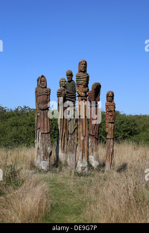 Carved sculpture of Wat Tyler and his followers, by Robert Koenig, at the Wat Tyler Country Park in Pitsea, near - Stock Photo