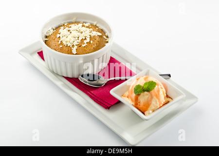 Hot chocolate fondant with ice cream - Stock Photo