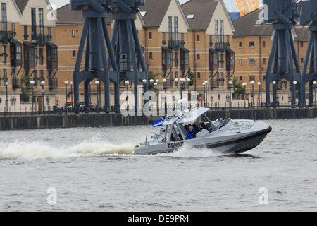 Damen Interceptor 1102 Developed for police, coastguard and navy displays at DSEi 2013 in London's Docklands - Stock Photo