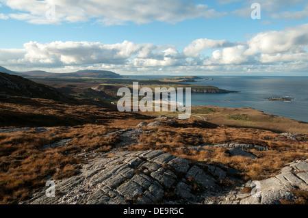 The coast west towards Cape Wrath, from the slopes of Beinn Ceannabeinne, near Durness, Sutherland, Scotland, UK. - Stock Photo