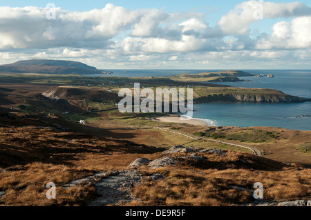The coast towards Faraid Head and Cape Wrath, from the slopes of Beinn Ceannabeinne, near Durness, Sutherland, Scotland, - Stock Photo