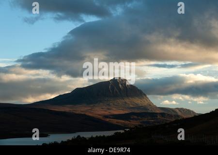 Ben Hope at sunset, over Loch Hope, Sutherland, Scotland, UK. - Stock Photo