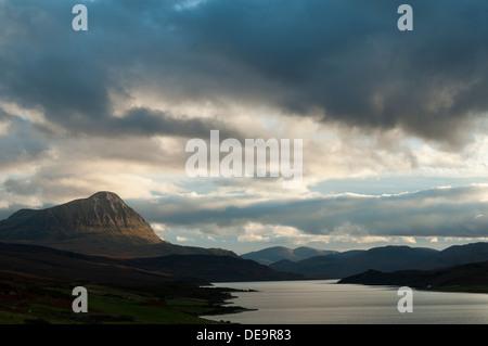 Ben Hope and Loch Hope at sunset, Sutherland, Scotland, UK. - Stock Photo