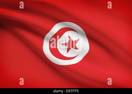 Tunisian flag blowing in the wind. Part of a series. - Stock Photo