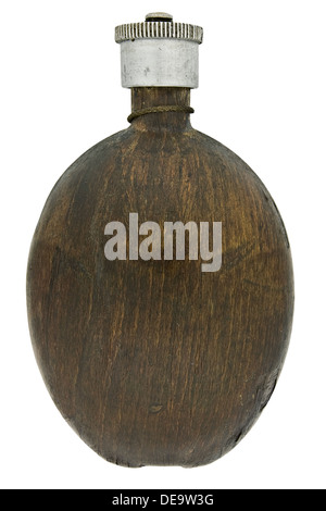 vintage wood veneer canteen isolated over white, clipping path - Stock Photo