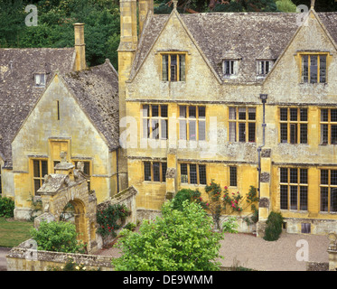 Stanway House viewed from the tower of St Peters church in the Cotswold village of Stanway, Gloucestershire UK - Stock Photo