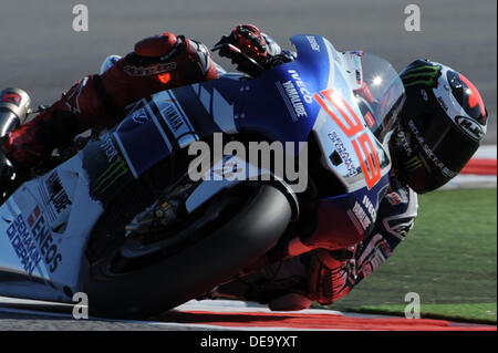 Misano Adriatico,Italy. September 14th 2013.Jorge Lorenzo (Yamaha Factory Racing) during the Qualifying sessions - Stock Photo