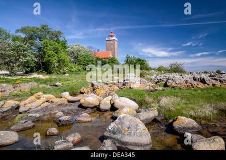 Lighthouse of Svaneke on Bornholm, Demark - Stock Photo
