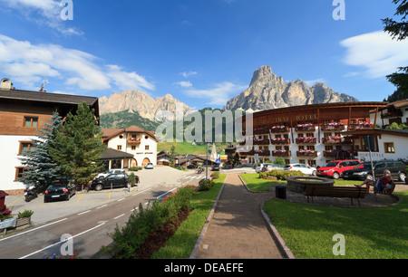 view from Corvara, small town in Badia Valley, Alto Adige, Italy - Stock Photo