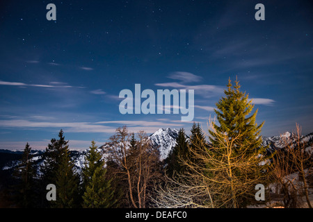 Panoramic view with stars, from Mt Bruennstein, Bavarian Alps, Brünnstein, Oberaudorf, Bavaria, Germany - Stock Photo