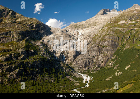 The ice-free bed of the melted Rhone Glacier, the source of the Rhone, Gletsch, Valais, Switzerland, Europe - Stock Photo
