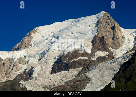 Bossons Glacier, Glacier des Bossons, summit of Mont Blanc du Tacul near Chamonix, Savoy, France, Europe - Stock Photo