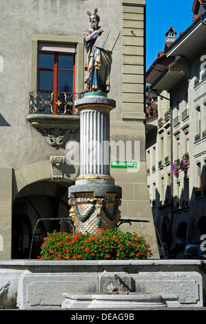 Moses with the 10 Commandments, Moses fountain in the historic town centre of Bern, Switzerland, Europe - Stock Photo