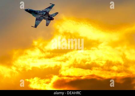 Israeli Air Force (IAF) F-16I Fighter jet in flight - Stock Photo