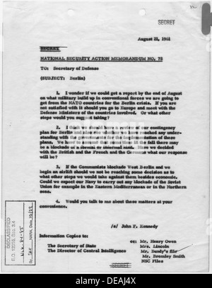 National Security Action Memorandum No. 78 Berlin 193474 - Stock Photo