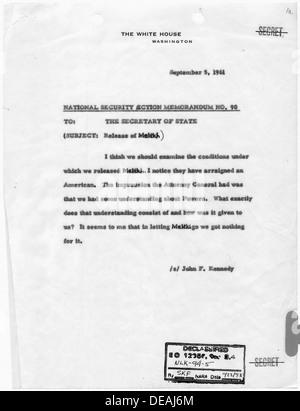 National Security Action Memorandum No. 90 Release of Melekh 193483 - Stock Photo