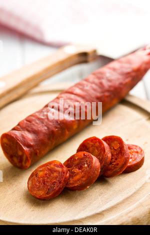 the sliced tasty chorizo sausage - Stock Photo