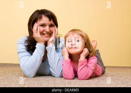Mother with little girl, 36 and 3 years - Stock Photo