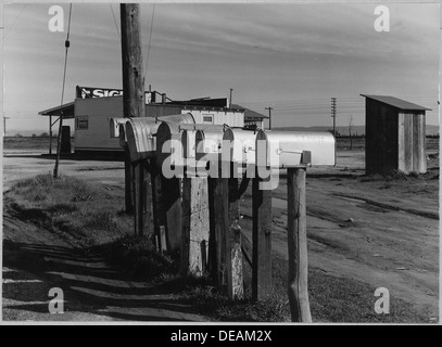 Oliverhurst, Yuba County, California. Mailboxes at head of Second Avenue and Olivehurst Street. A ma . . . 521576 - Stock Photo