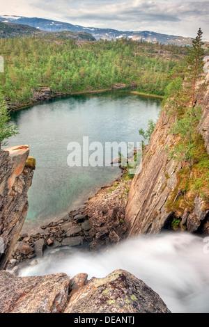 Waterfall below the Storskogvatnet lake, Rago National Park, Nordland county, Norway, Scandinavia, Europe - Stock Photo