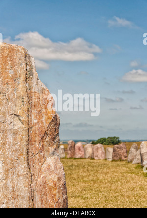 Sweden's most famous standing stones is arranged in the shape of a boat and believed to be the resting place of - Stock Photo