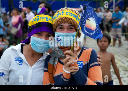 Phnom Penh, Cambodia on Sept. 15th, 2013. Sam Rainsy activists protesting, in harmony, the National election results - Stock Photo