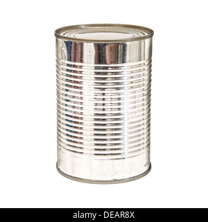 A silver tin can isolated on a white background. - Stock Photo