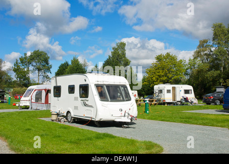 Caravans at the Croft campsite in the village of Hawkshead, Lake District National Park, Cumbria, England UK - Stock Photo