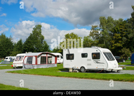 The Croft campsite in the village of Hawkshead, Lake District National Park, Cumbria, England UK - Stock Photo