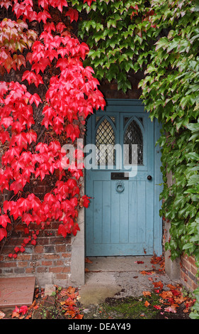 Front door and porch of a rustic English country cottage in the